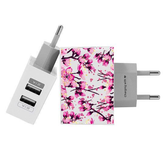 Carregador Personalizado iPhone/Android Duplo USB de Parede Gocase - Flor de Cerejeira