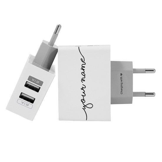 Customized Dual Usb Wall Charger for iPhone and Android - Handwritten