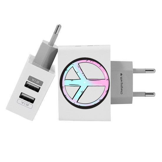 Carregador Personalizado iPhone/Android Duplo USB de Parede Gocase - Paz e Amor