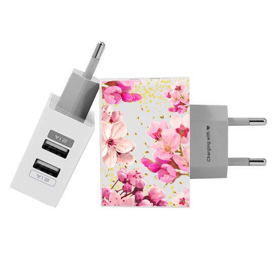 Carregador Personalizado iPhone/Android Duplo USB de Parede Gocase - Rose Gold