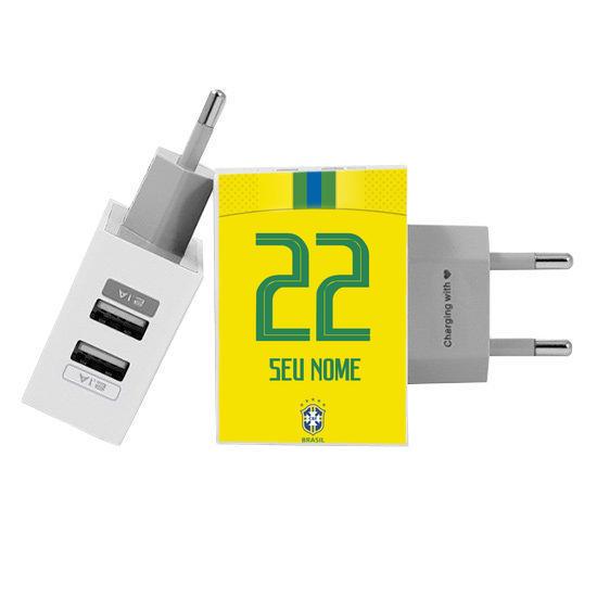 Carregador Personalizado iPhone/Android Duplo USB de Parede Gocase - Seleção Brasileira - Uniforme Amarelo
