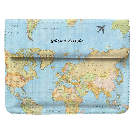 Capa para Notebook - Mapa Mundi Manuscrita