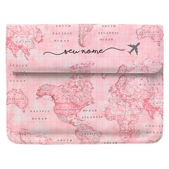Capa para Notebook Personalizada - Mapa Mundi Rosa Manuscrita