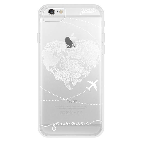 World Map Heart Handwritten (White) Phone Case