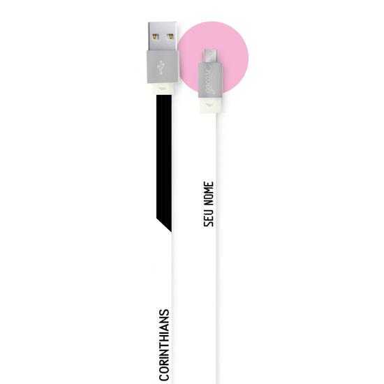Cabo Android Micro USB Personalizado Gocase - Corinthians - Preto e Branco