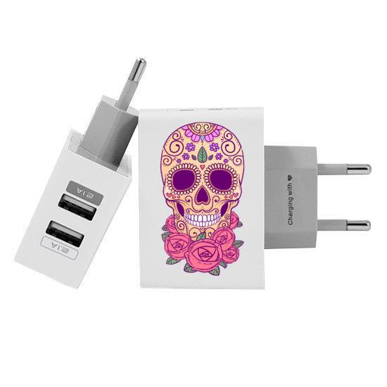 Carregador Personalizado iPhone/Android Duplo USB de Parede Gocase - Calavera