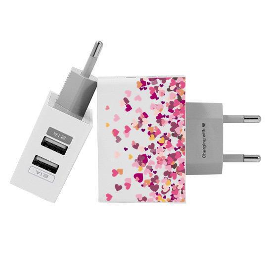 Carregador Personalizado iPhone/Android Duplo USB de Parede Gocase - Corações Flutuantes