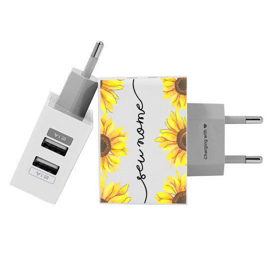 Jardim de girassóis - Carregador Personalizado iPhone/Android Duplo USB de Parede Gocase