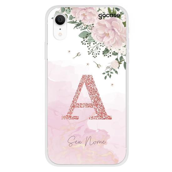 Capinha para celular Jardim Rosé - Inicial Glitter