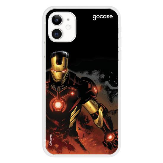 Capinha para celular Marvel - Homem de Ferro em chamas