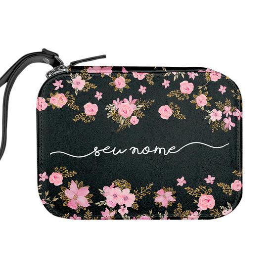 Necessaire Maquiagem Personalizada - Flores Royale Manuscrita