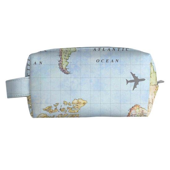 Necessaire Multi Personalizada - Mapa Mundi Manuscrita