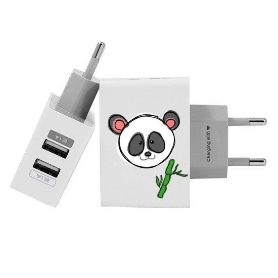 Carregador Personalizado iPhone/Android Duplo USB de Parede Gocase - Coisas de panda