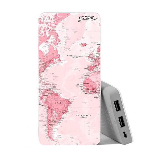 Carregador Portátil Power Bank (10000mAh) - Mapa Mundi Rosa