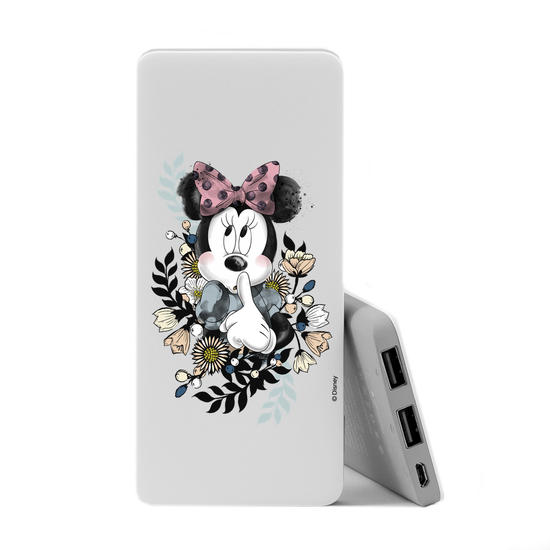 Carregador Portátil Power Bank Slim (5000mAh) - Minnie Floral Clean