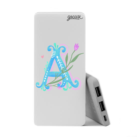 Carregador Portátil Power Bank Slim (5000mAh)  - Alfabeto Floral