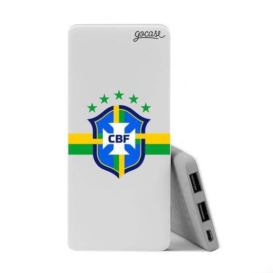 Carregador Portátil Power Bank Slim (5000mAh) - Seleção Brasileira - Escudo Clean