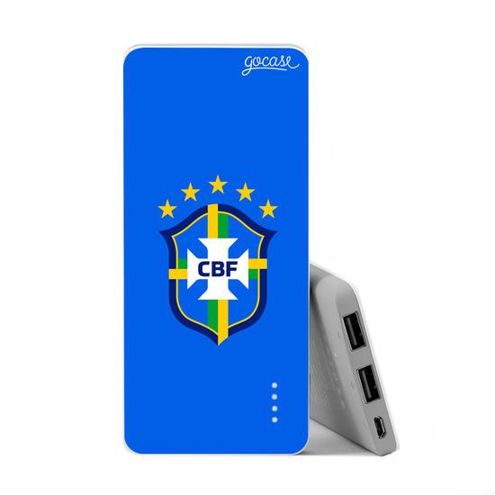 Carregador Portátil Power Bank Slim (5000mAh) - Seleção Brasileira - Escudo Azul