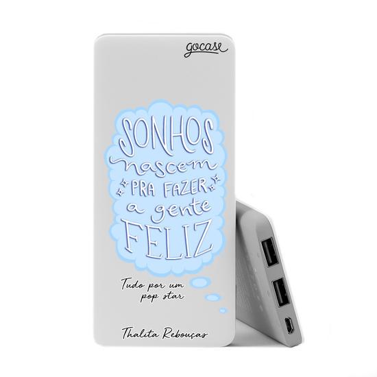 Carregador Portátil Power Bank Slim (5000mAh) - Sonhos - Azul by Thalita Rebouças
