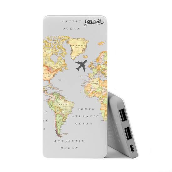 Carregador Portátil Power Bank Slim (5000mAh) - Mapa Mundi Clean