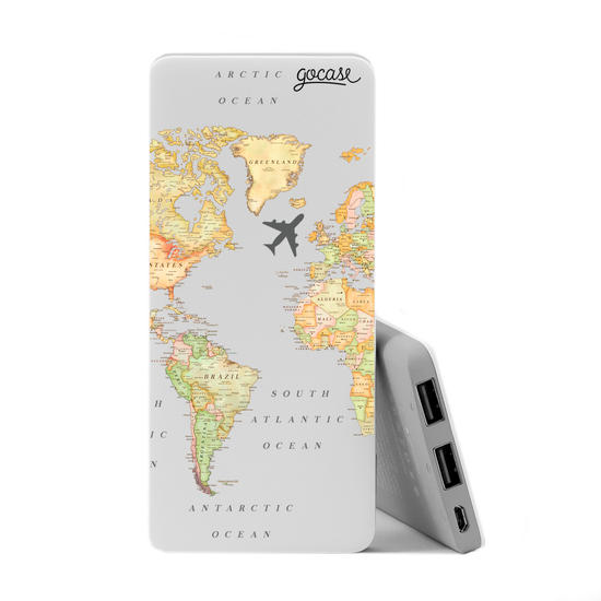 Carregador Portátil Power Bank Slim (5000mAh) - Mapa Mundi Clean