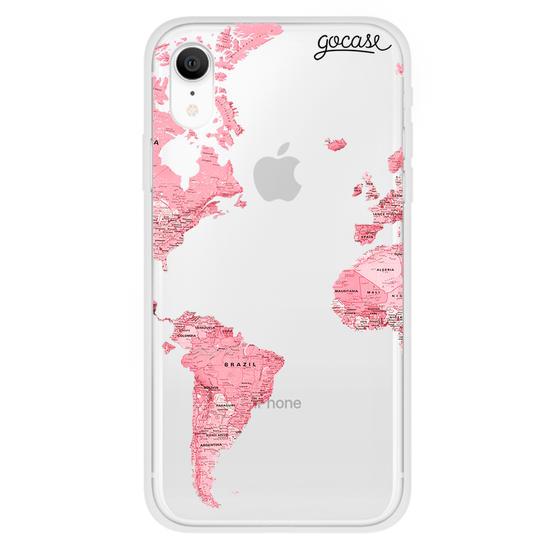 Pink World Map Initial Glitter Phone Case