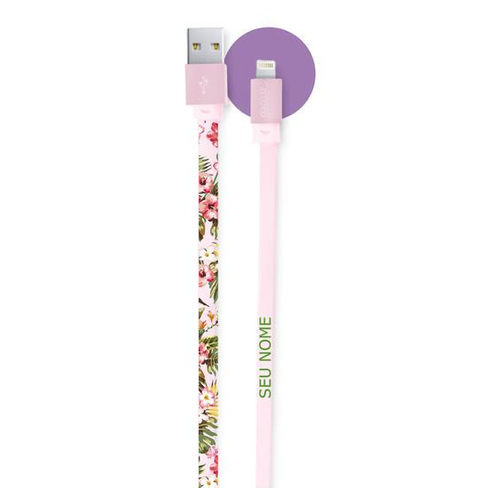 Cabo iPhone Lightning Personalizado Rosa Gocase (Certificado Apple) - Floral
