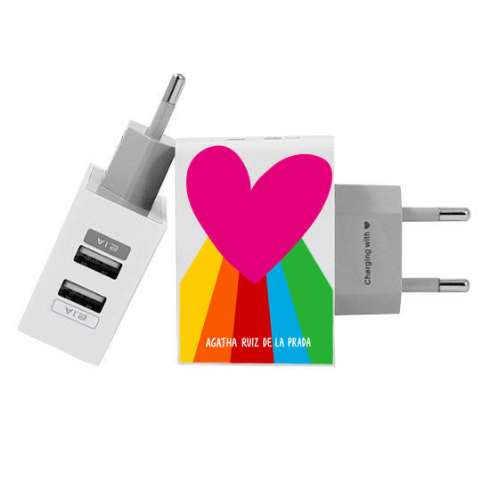 Customized Dual Usb Wall Charger for iPhone and Android - Rainbow Heart