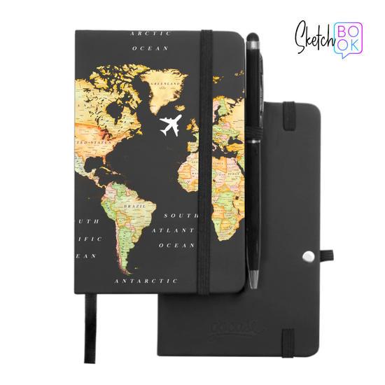 Sketchbook Black - World Map Blank Handwritten