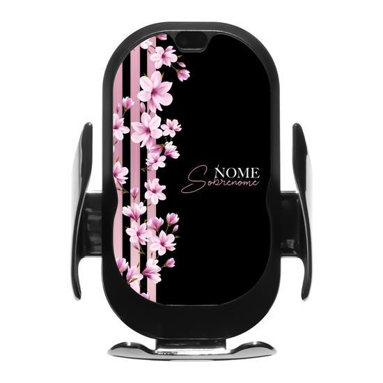 Carregador Veicular Sem Fio - Floral Lines Personalizada