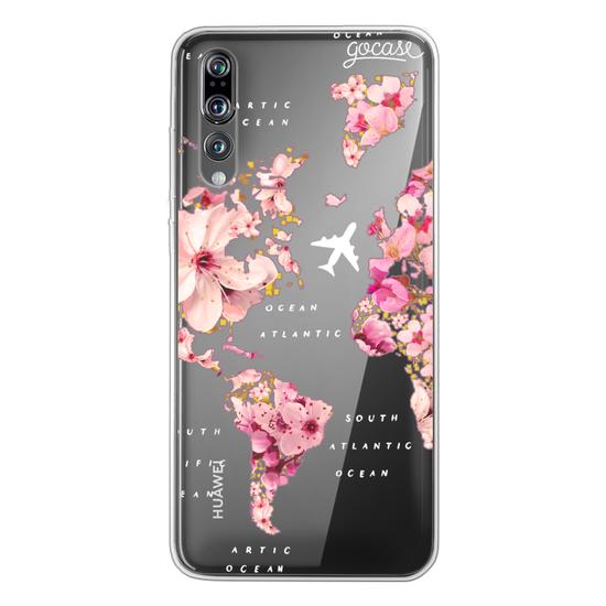 World Map Golden Flowers Phone Case