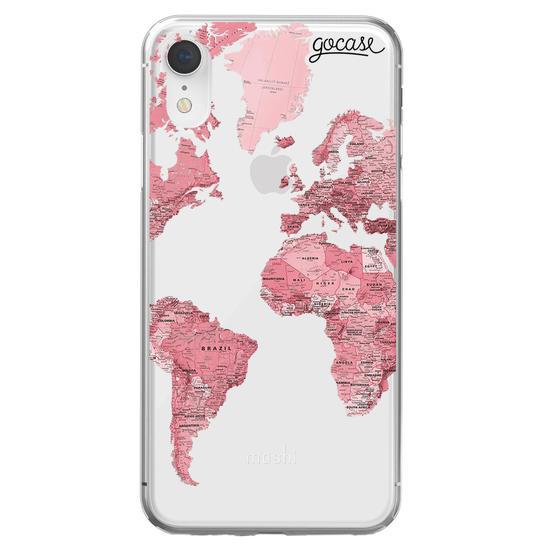 Pink World Map Handwritten Phone Case