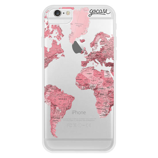 Pink World Map Handwritten Phone Case