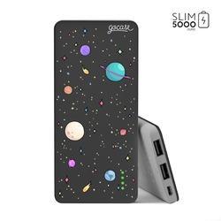 Power Bank Slim Portable Charger (5000mAh) Black - Planets