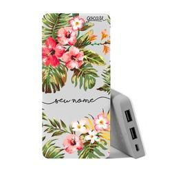 Carregador Portátil Power Bank (10000mAh) - Floral Manuscrita