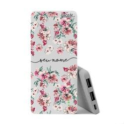 Carregador Portátil Power Bank Slim (5000mAh) - Flores Rosê