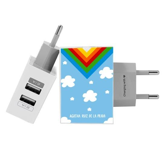 Customized Dual Usb Wall Charger for iPhone and Android - Happy Sky