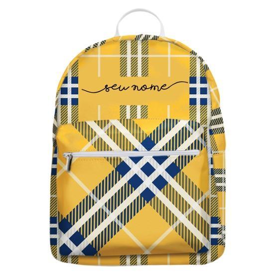 Mochila Gocase Bag - Xadrez Amarelo Manuscrita