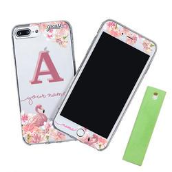 Kit Flamingos Initial Pink (Case + Screen Protector + Screen Cleaner)