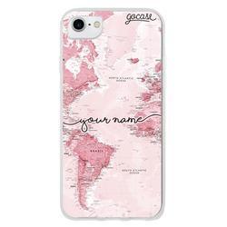 World Map Pink Handwritten Phone Case