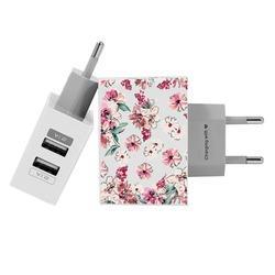 Carregador Personalizado iPhone/Android Duplo USB de Parede Gocase - Flores Rosê