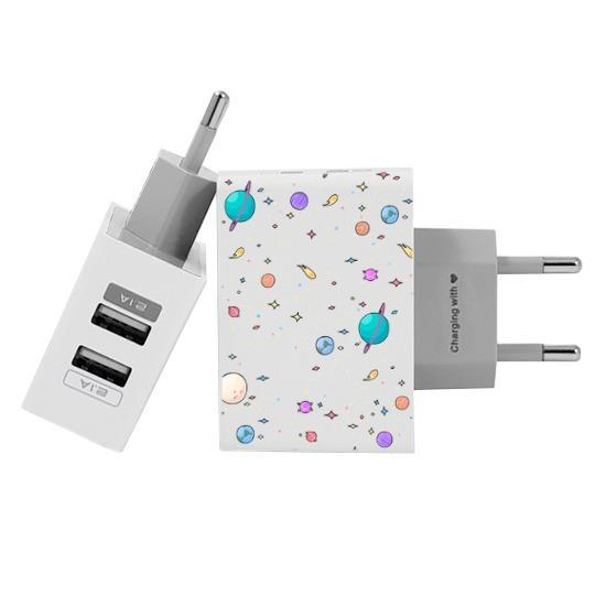 Carregador Personalizado iPhone/Android Duplo USB de Parede Gocase - Planetinhas