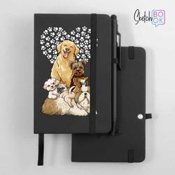 Sketchbook Black - Cute Puppies