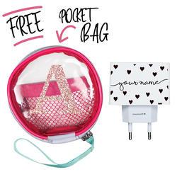Kit Pattern Black Hearts (Wall Charger + Pocket Bag)