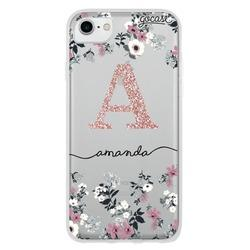 Lovely Floral - Initials Glitter Phone Case