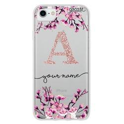 Cherry Blossoms Initial Glitter Phone Case