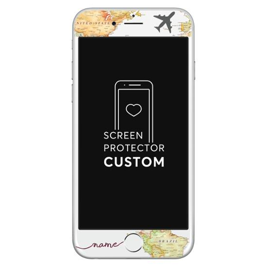 World Map White Blank Screen Protector - Tempered Glass
