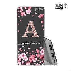 Power Bank Slim Portable Charger (5000mAh) Black - Cherry Petals Initial Glitter