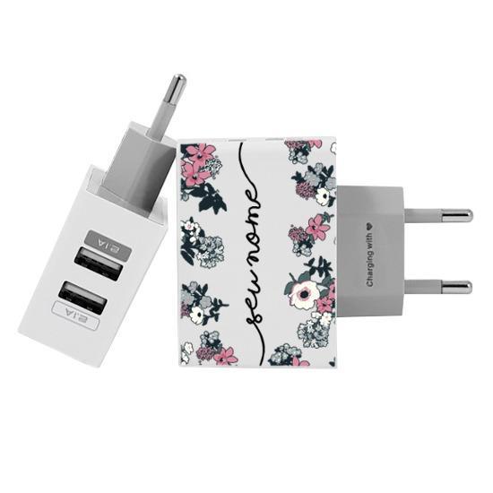 Carregador Personalizado iPhone/Android Duplo USB de Parede Gocase - Bem Floral Manuscrita