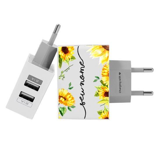 Carregador Personalizado iPhone/Android Duplo USB de Parede Gocase - Próprio Sol Manuscrita by Bruna Vieira